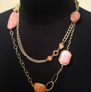 Chico's Coral/Pink long goldtone necklace